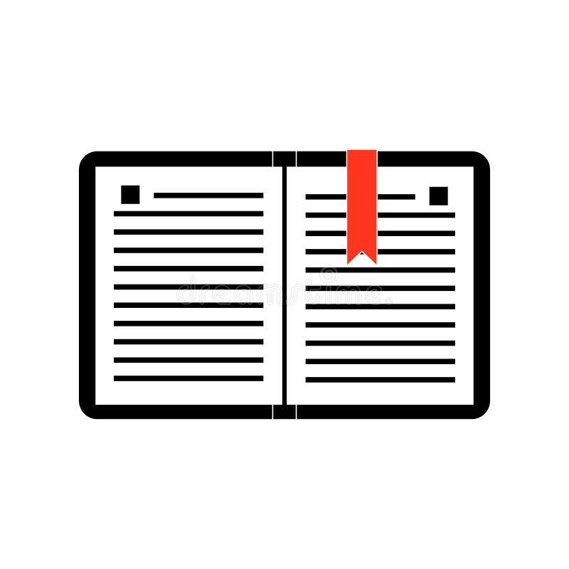 Eenvoudig werkboekpictogram met een rode referentie stock illustratie