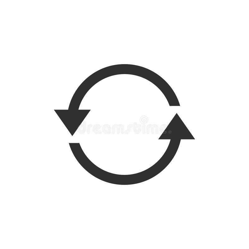 Eenvoudig zwart pictogram op witte achtergrond Herhaal pictogram Vector het ontwerpelement van het illustratieweb krommepijl stock illustratie