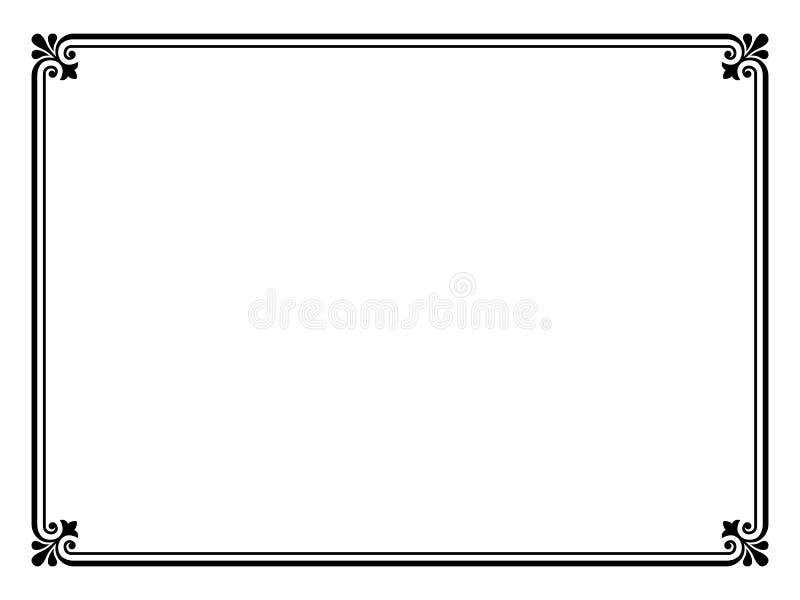 Eenvoudig zwart sier decoratief frame stock illustratie