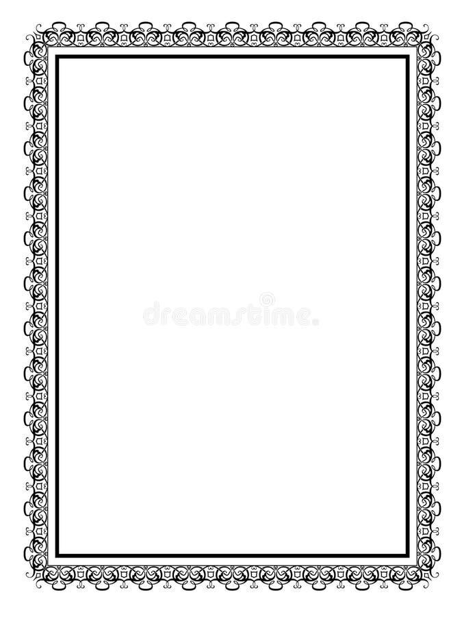 Eenvoudig zwart sier decoratief kader vector illustratie