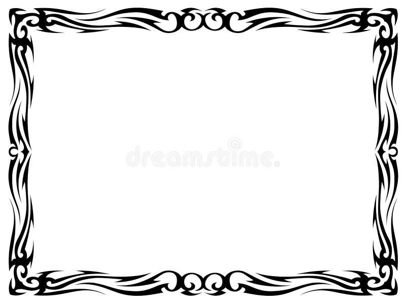 Eenvoudig zwart tatoegerings sier decoratief frame stock illustratie