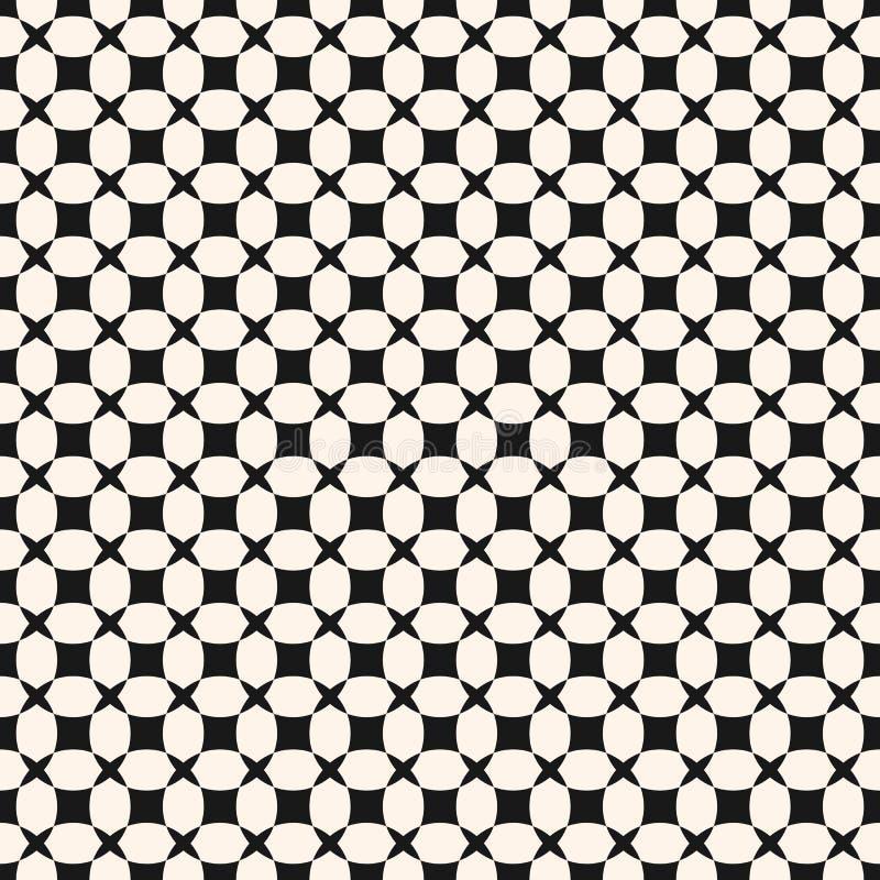Eenvoudig zwart-wit geometrisch naadloos patroon met net, netto rooster, vector illustratie