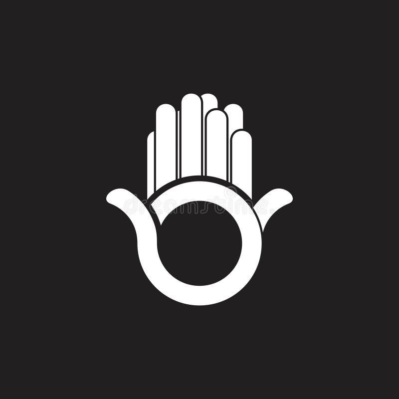 Eenvoudige abstracte het embleemvector van de twee handpalm stock illustratie