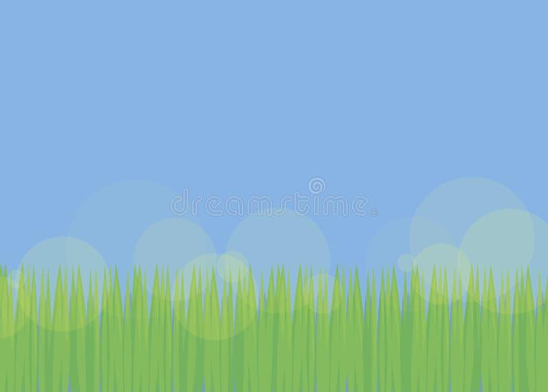 Eenvoudige achtergrond met blauwe hemel en groen vers gras met doorzichtige gele glans van van het het voetbalgazon van de open p vector illustratie