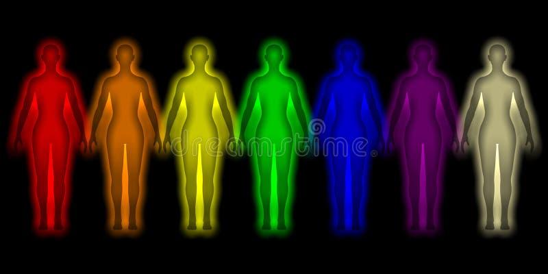 Eenvoudige achtergrond met gekleurd menselijk energielichaam royalty-vrije illustratie
