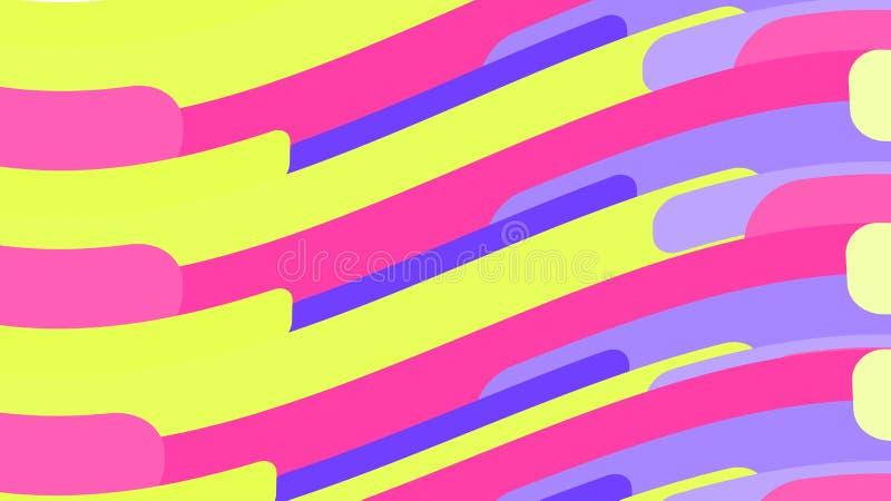 Eenvoudige achtergrond van minimalistic magische multicolored oranje abstracte heldere lijnen van golven van stroken van geometri stock illustratie