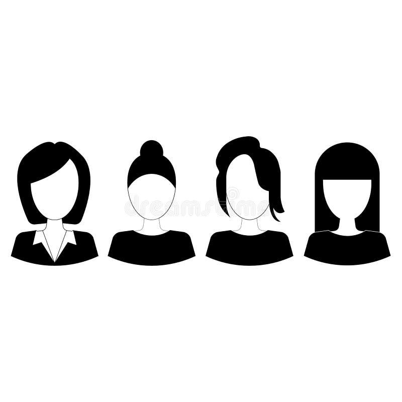 Eenvoudige avatar pictogrammen van diverse bedrijfsvrouw royalty-vrije illustratie