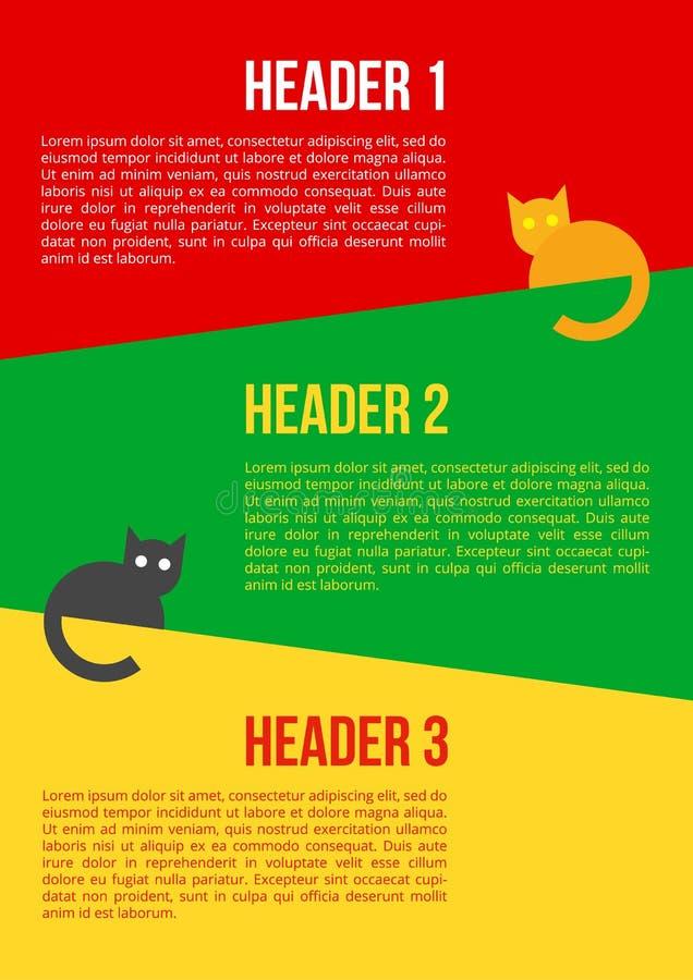 Eenvoudige beeldverhaalkatten op multicolored achtergrond vector illustratie