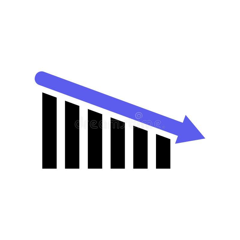 Eenvoudige beneden neigende grafiek Zwarte en Blauw stock illustratie