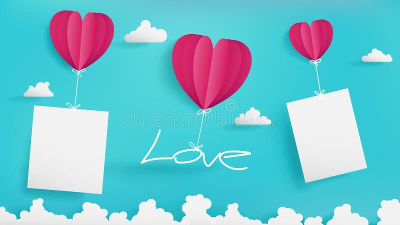 Eenvoudige blauwe hemel van de dag van Valentine ` s als ambachtdocument ontwerp royalty-vrije illustratie