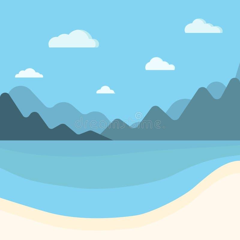 Eenvoudige blauwe overzees, bergen en de zomerachtergrond van het zandstrand royalty-vrije illustratie