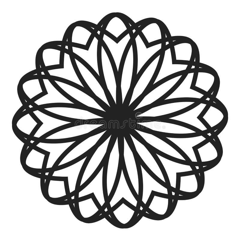 Eenvoudige bloesem vector zwarte mandala royalty-vrije illustratie