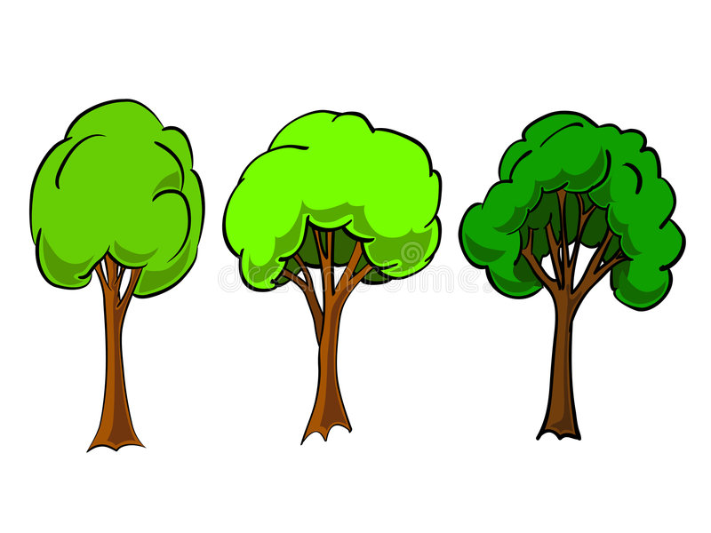 Eenvoudige bomen in vector stock illustratie