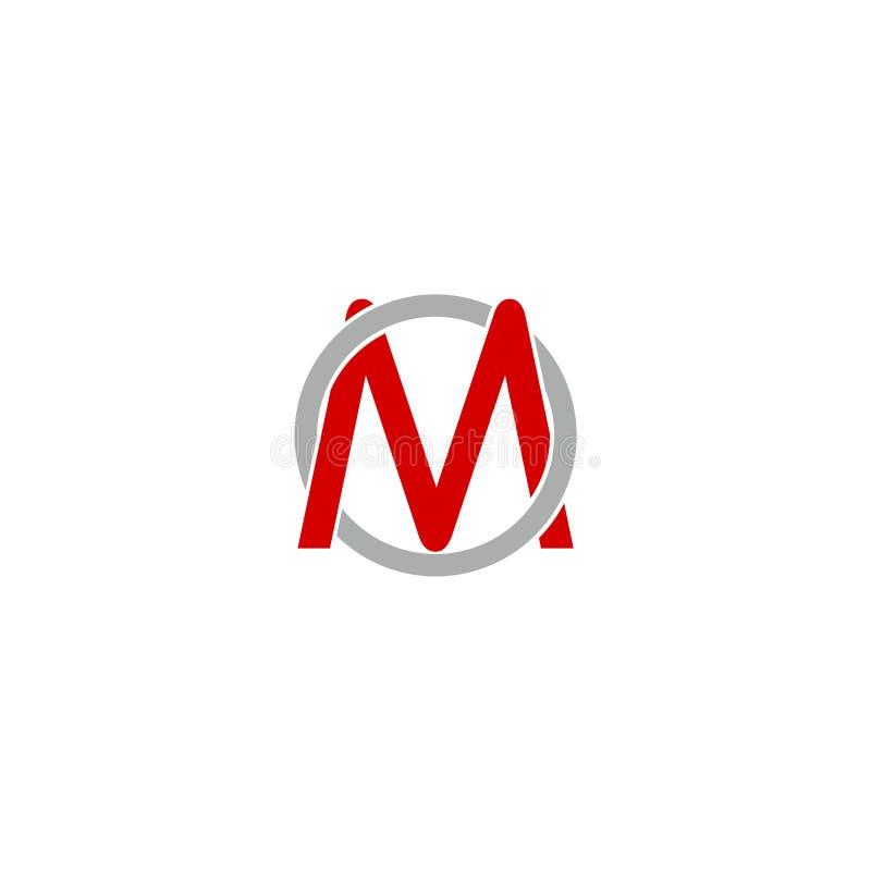 Eenvoudige Brief M Circle Logo Design Element royalty-vrije illustratie