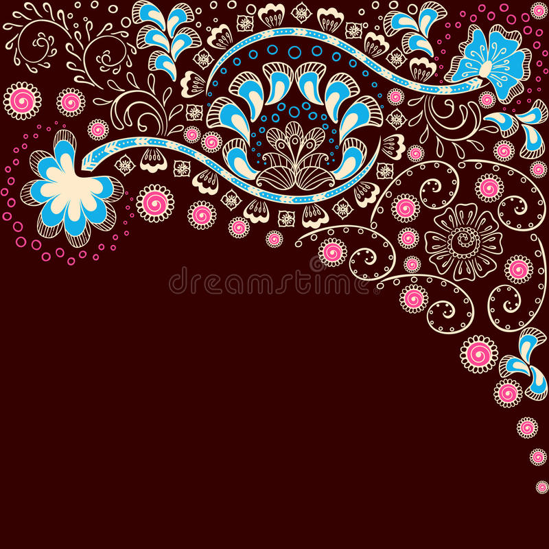 Eenvoudige bruine achtergrond die door Indische mehndi wordt geïnspireerd  vector illustratie