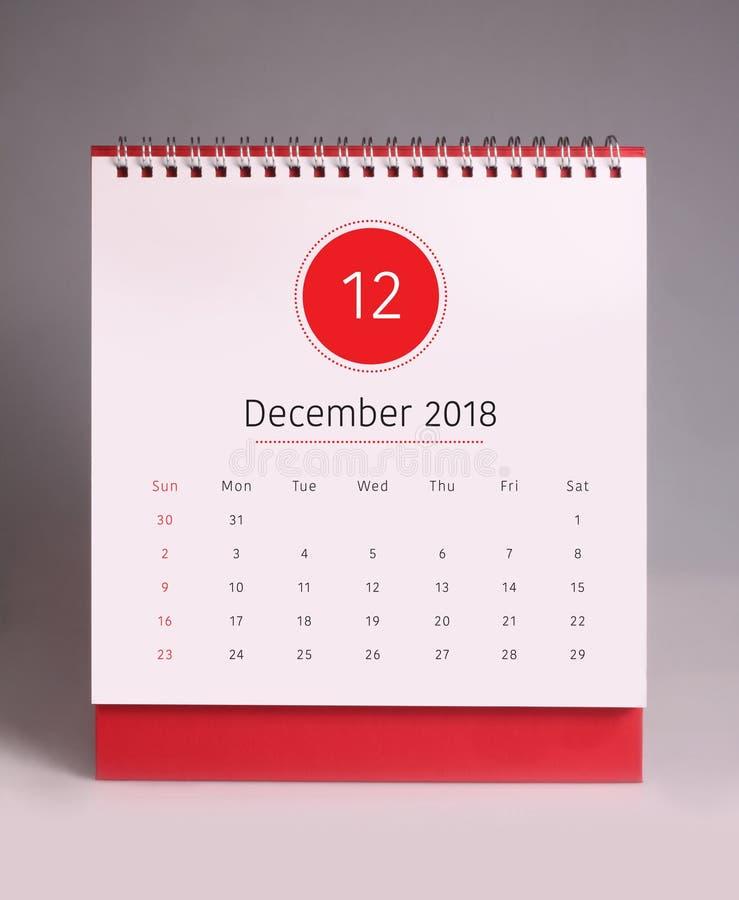 Eenvoudige bureaukalender 2018 - December royalty-vrije stock afbeeldingen