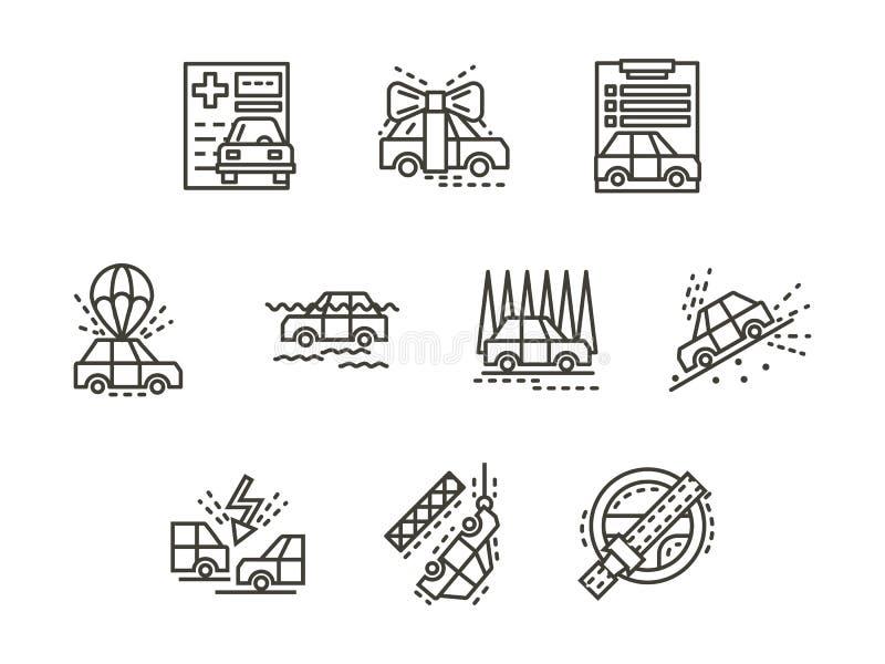 Eenvoudige de gevallenpictogrammen van de lijnverzekering stock illustratie