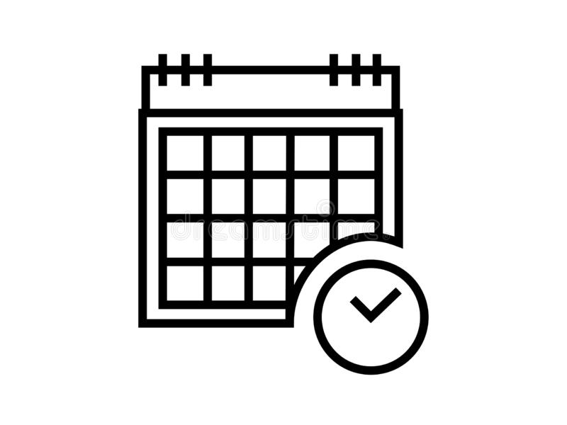 Eenvoudige de illustratievector van het kalendersymbool op witte achtergrond vector illustratie