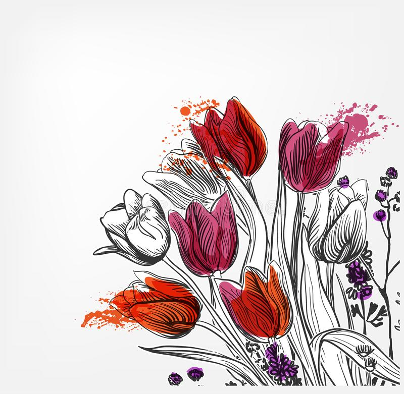Eenvoudige de plons kleurrijke schets van de tulpen vectorkaart stock illustratie