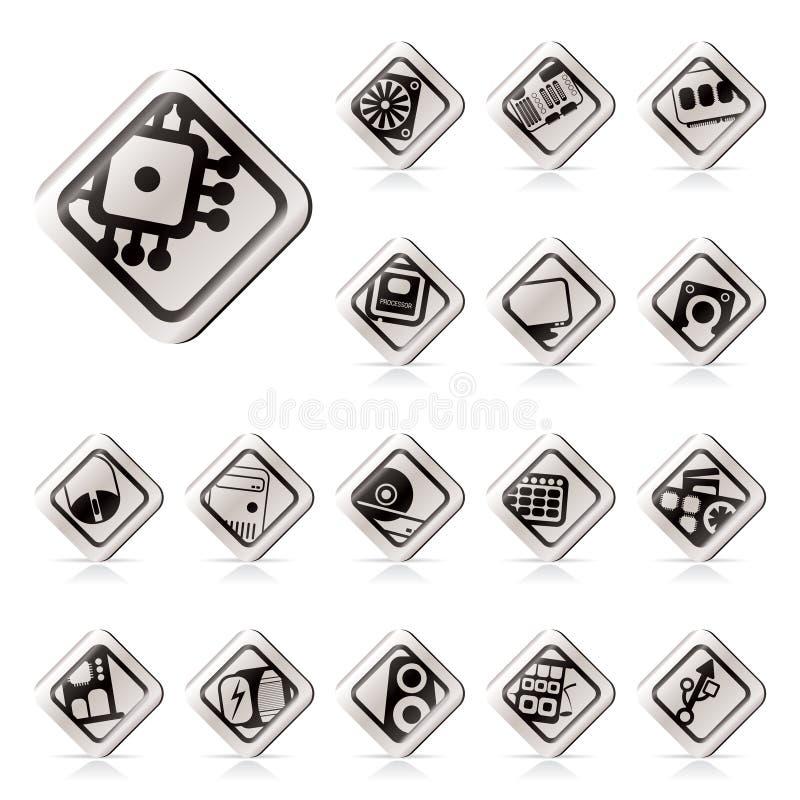 Eenvoudige de prestaties van de Computer en apparatuur pictogrammen royalty-vrije illustratie
