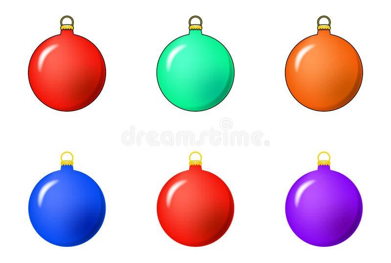 Eenvoudige die Snuisterij voor Kerstmisboom wordt geplaatst op witte backgroun wordt geïsoleerd stock illustratie