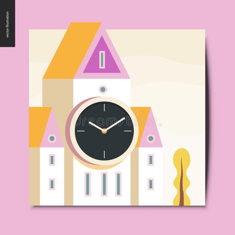 Eenvoudige dingen - klokketoren royalty-vrije illustratie