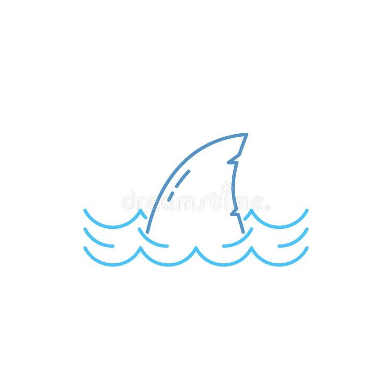 Eenvoudige dunne lijnhaai in golfpictogram royalty-vrije illustratie