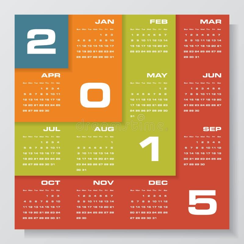 Eenvoudige editable vectorkalender 2015 stock illustratie