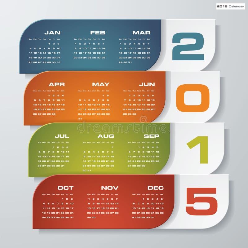 Eenvoudige editable vectorkalender 2015 vector illustratie