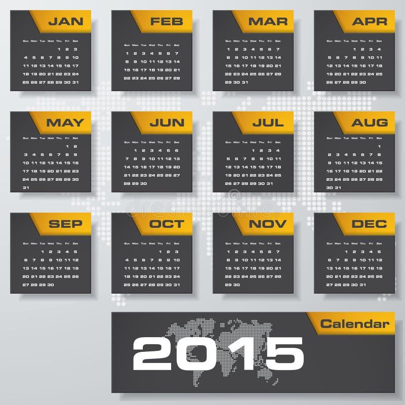 Eenvoudige editable vectorkalender 2015 royalty-vrije illustratie