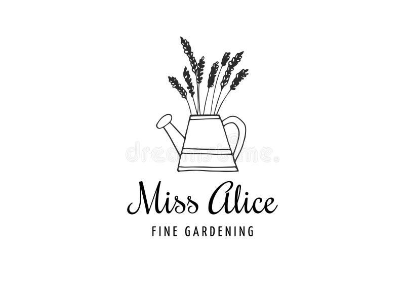 Eenvoudige en modieuze moderne embleem en illustratie, het tuinieren vectorhand getrokken element stock illustratie