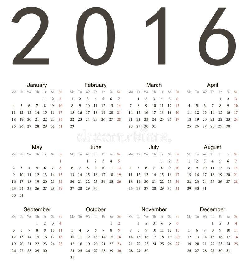 Eenvoudige Europese vierkante kalender 2016 royalty-vrije illustratie
