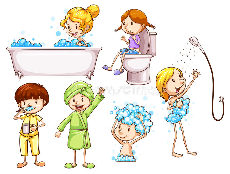 Eenvoudige gekleurde schetsen van mensen die een bad nemen royalty-vrije illustratie
