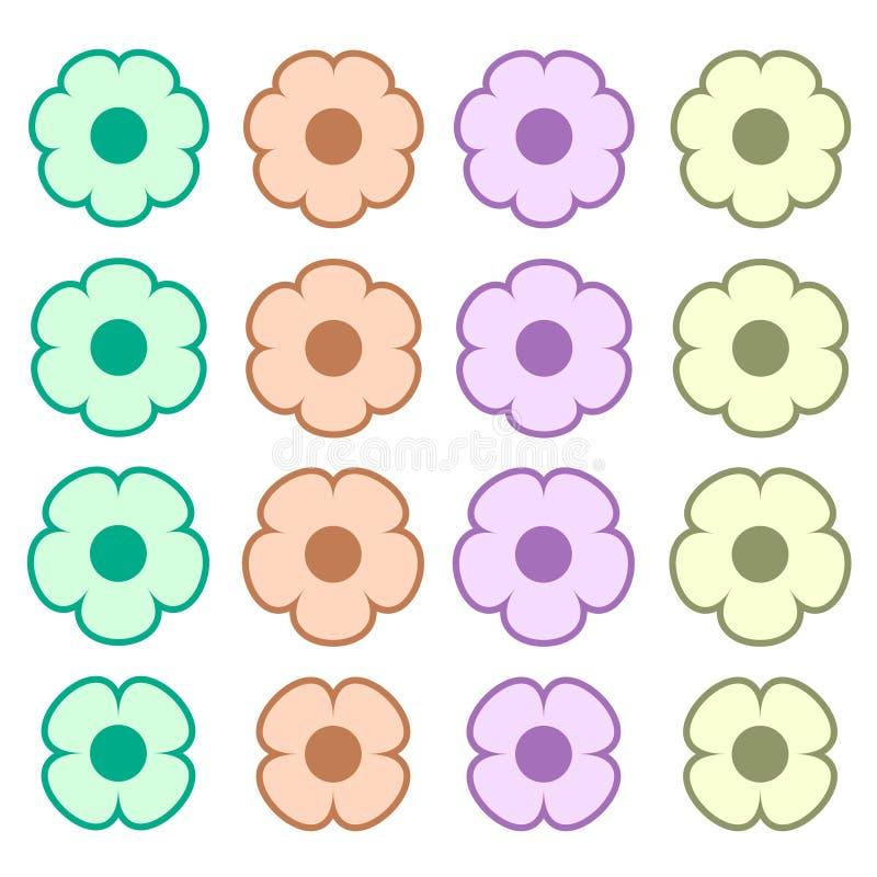 Eenvoudige gekleurde van het het symboolembleem van het bloempictogram reeks 4 stock illustratie