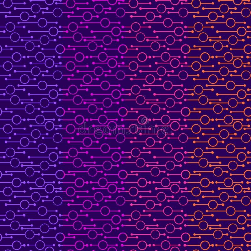 Eenvoudige geometrische gloeiende rondes en lijnen op donkere achtergrond Neonlichten op abstracte vector naadloze patronen voor  stock illustratie