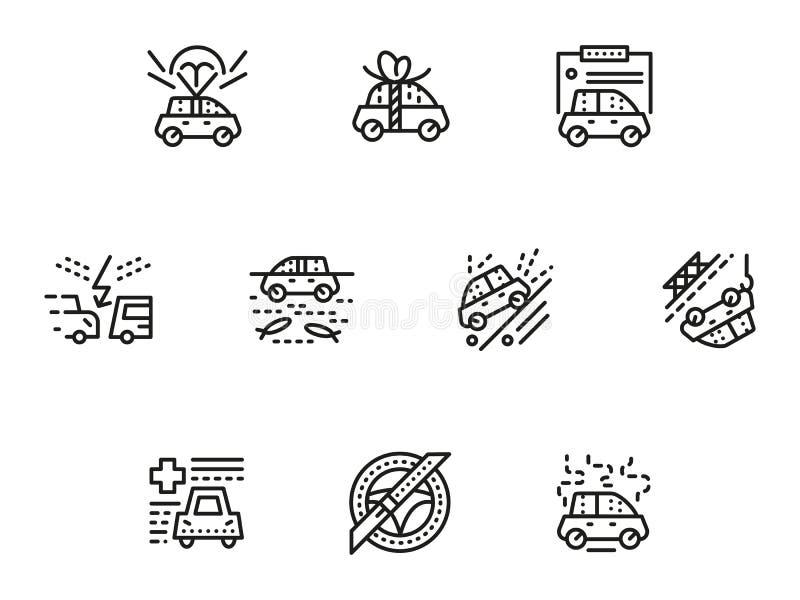 Eenvoudige geplaatste de lijnpictogrammen van de autoverzekering stock illustratie