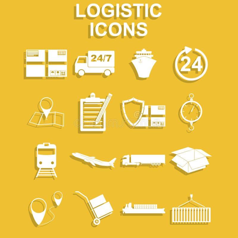 Eenvoudige geplaatste logistiekpictogrammen royalty-vrije illustratie