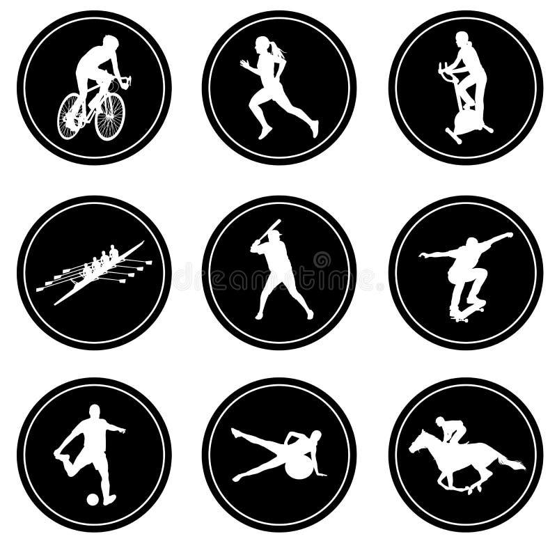 Eenvoudige geplaatste sportpictogrammen royalty-vrije illustratie