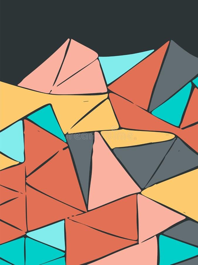 Eenvoudige geschilderde multi-colored driehoekenachtergrond voor ontwerp royalty-vrije illustratie