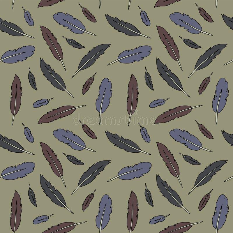 Eenvoudige gevarieerde uitstekende de kleuren vectorillu van het veer naadloze patroon royalty-vrije illustratie