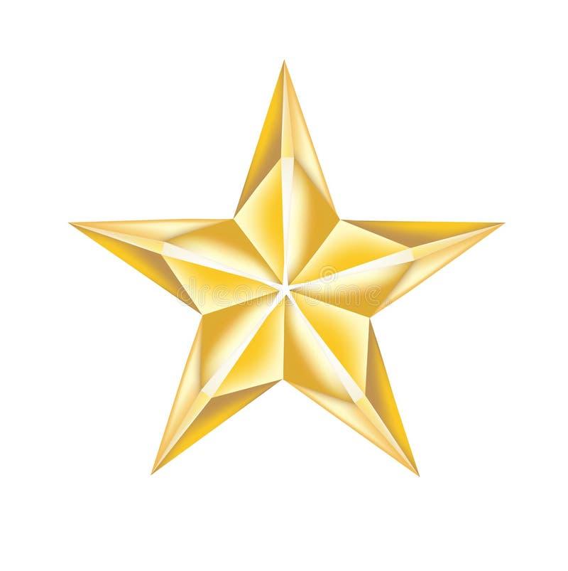 Eenvoudige gouden die ster op wit wordt geïsoleerd royalty-vrije illustratie