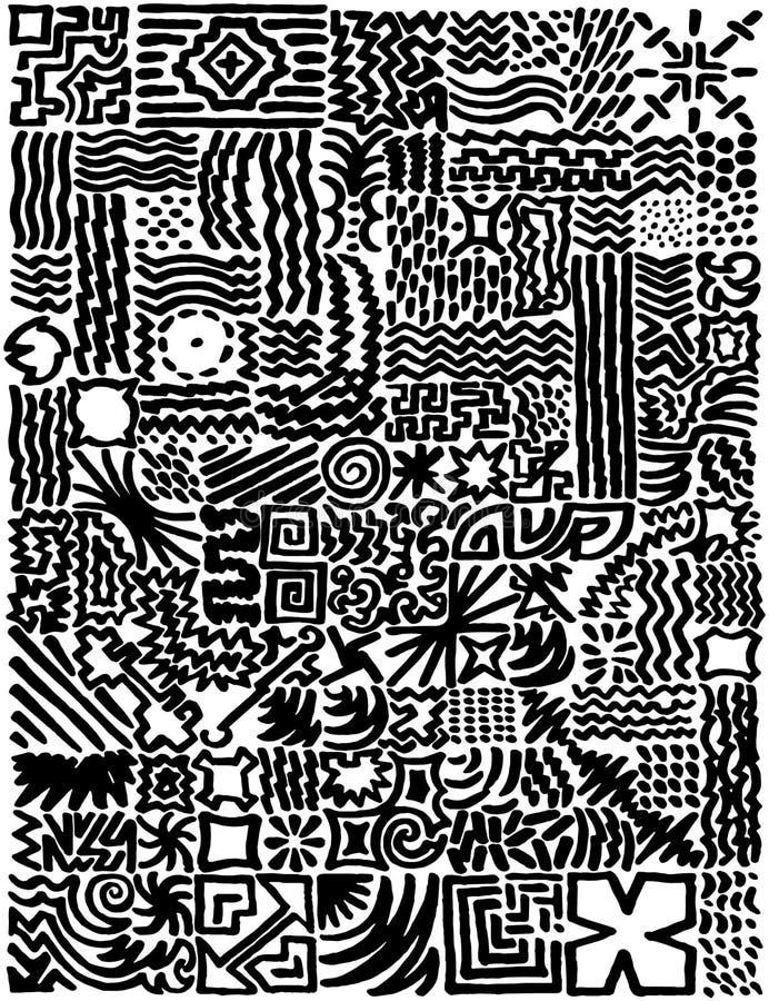 Eenvoudige hand getrokken basistekens die tot modern patroon leiden royalty-vrije illustratie