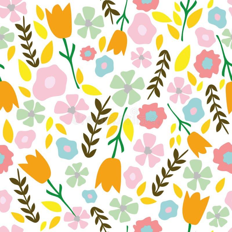 Eenvoudige hand getrokken tuinbloemen met tulpen, madeliefjes en verspreide takken vector illustratie