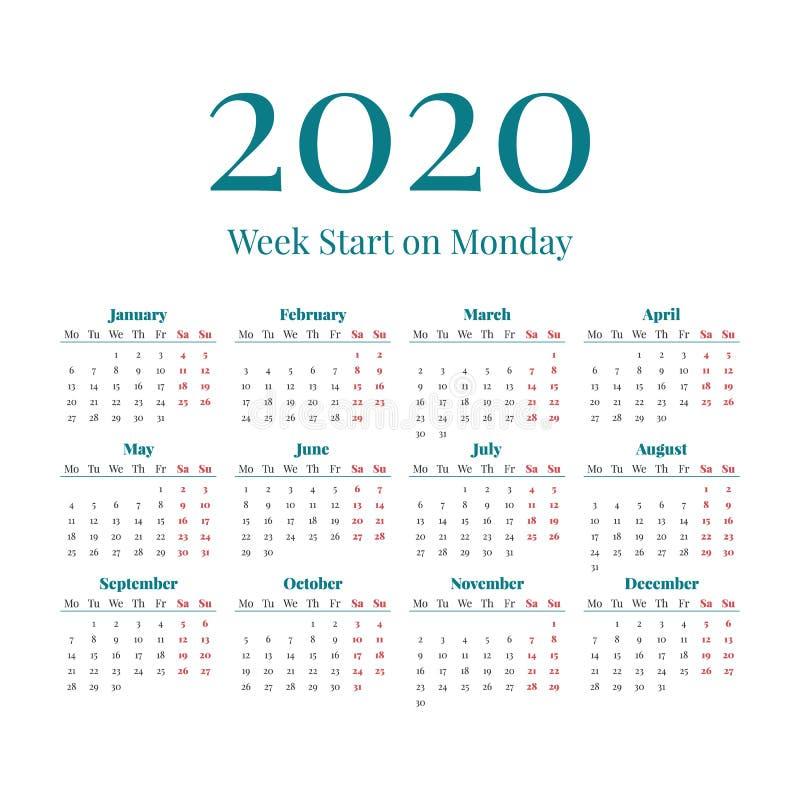 Eenvoudige het jaarkalender van 2020 stock afbeeldingen