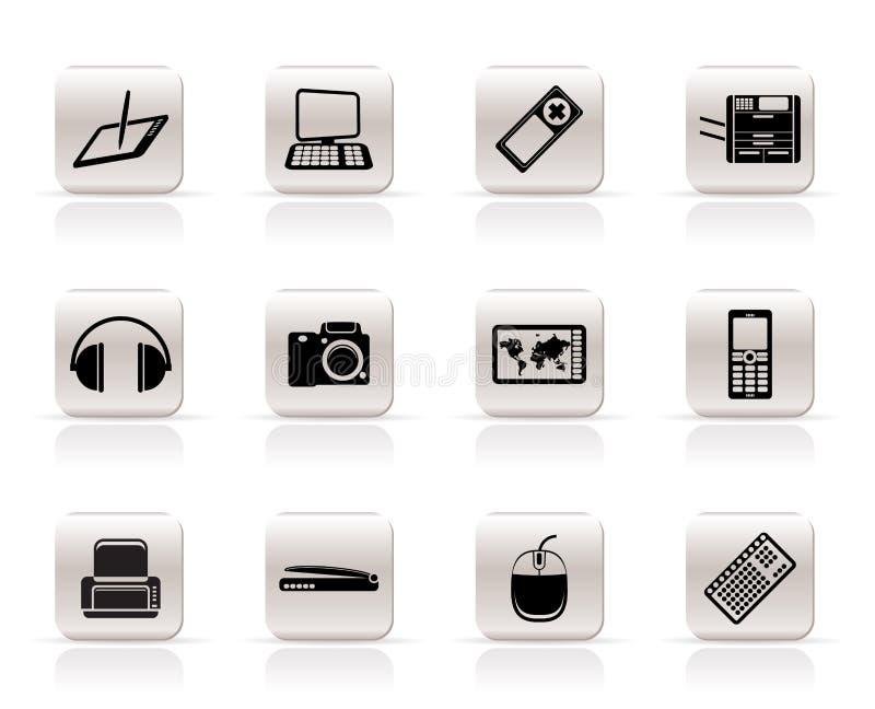 Eenvoudige Hoogte - technologie technische apparatuur pictogrammen royalty-vrije illustratie