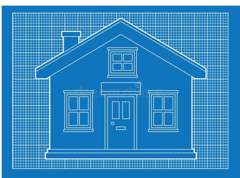 Eenvoudige huisblauwdrukken royalty-vrije illustratie