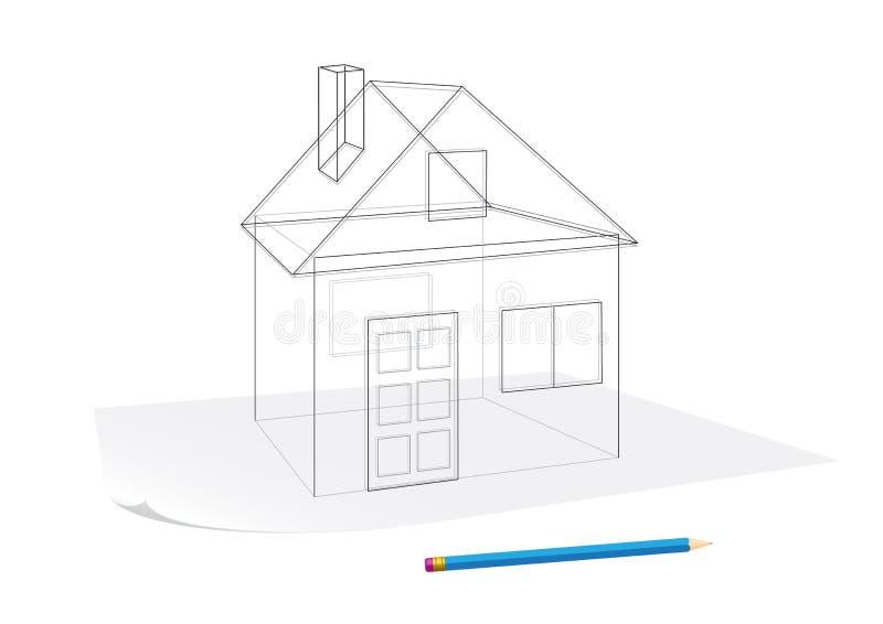 Eenvoudige huisschets royalty-vrije illustratie