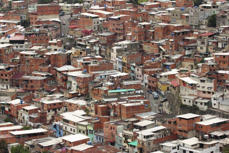 Eenvoudige huizen of rancho's in Caracas, Venezuela stock afbeeldingen