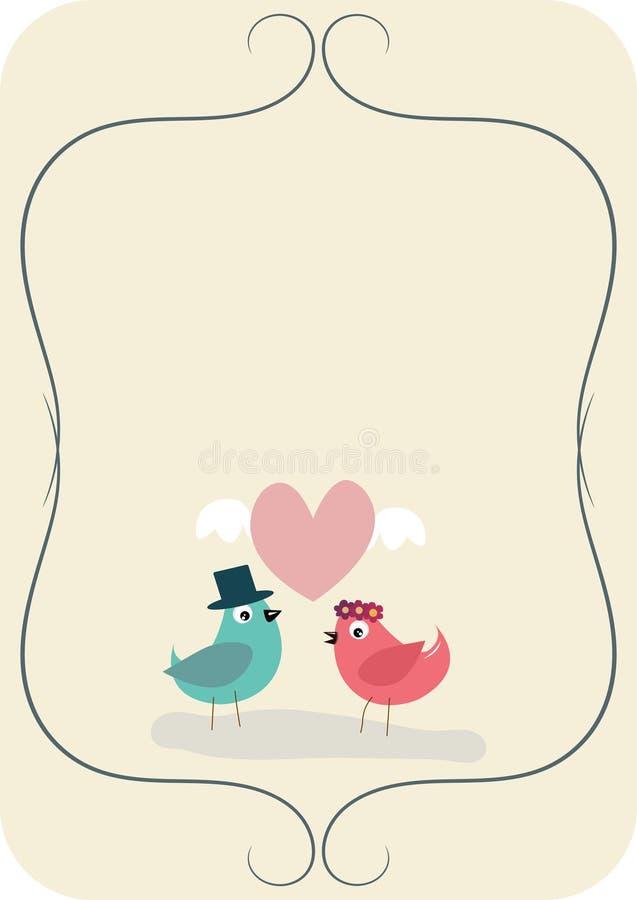Eenvoudige huwelijkskaart met twee vogels in liefde stock afbeelding