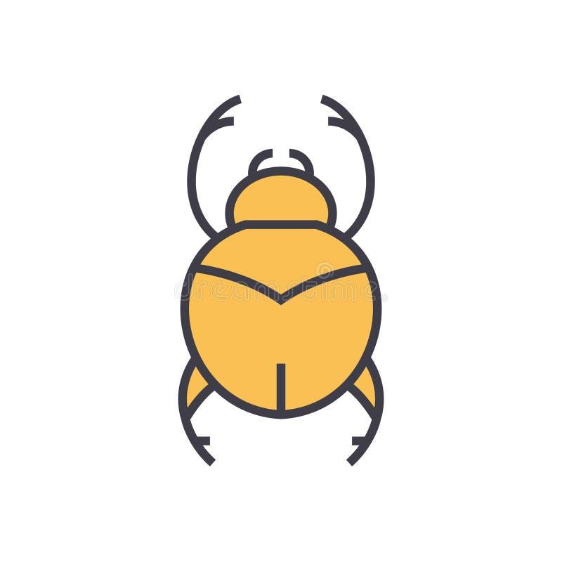 Eenvoudige insecten, vlakke de lijnillustratie van Egypte, conceptenvector geïsoleerd pictogram royalty-vrije illustratie